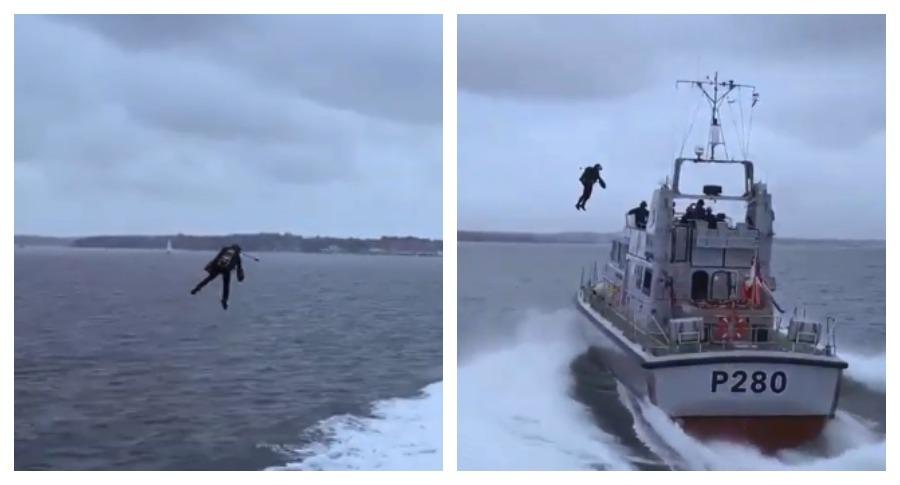 Полет «человека-ракеты» над катером ВМФ Британии был снят на видео