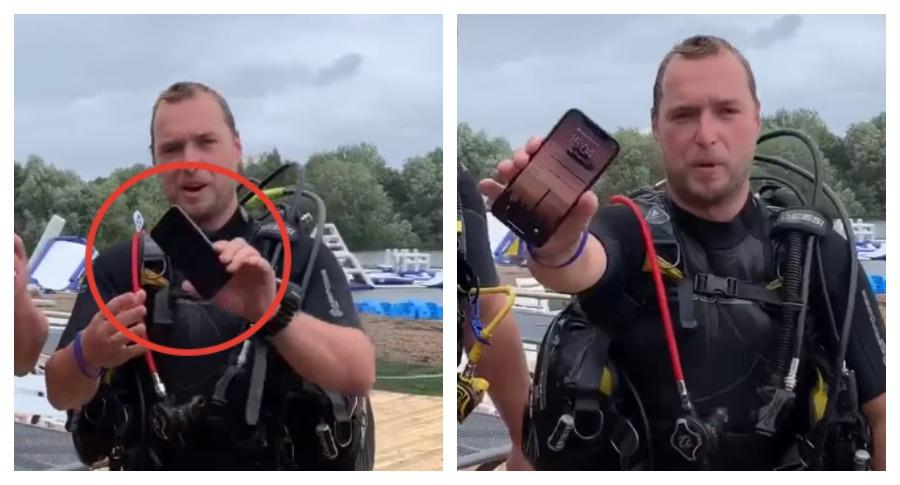 В Великобритании спустя два дня достали со дна озера работающий iPhone X