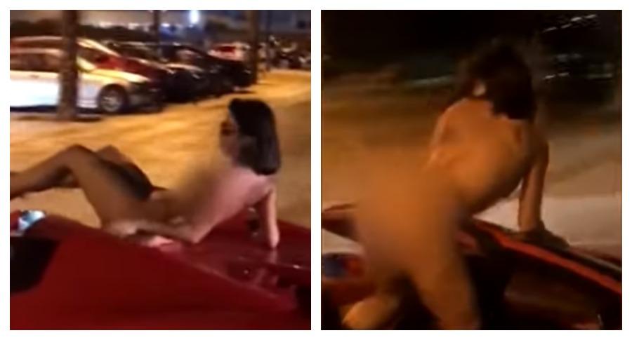 В Сети опубликовано видео обнажённой девушки, проехавшейся на Ferrari