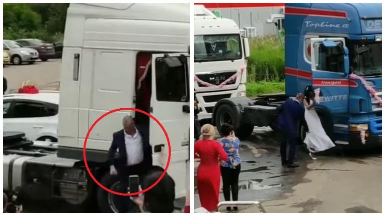 Свадебный кортеж из грузовиков рассмешил социальные сети