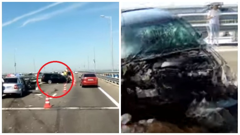 На крымском мосту легковушка въехала в заграждение