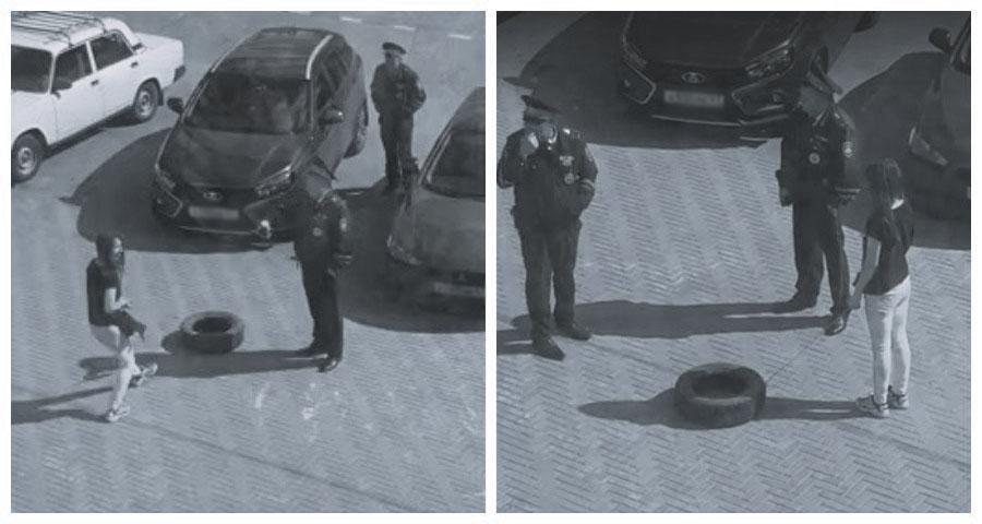 В Смоленске девушка вывела на прогулку автомобильное колесо