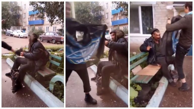 Мужчина в Башкирии избил бездомного на видео