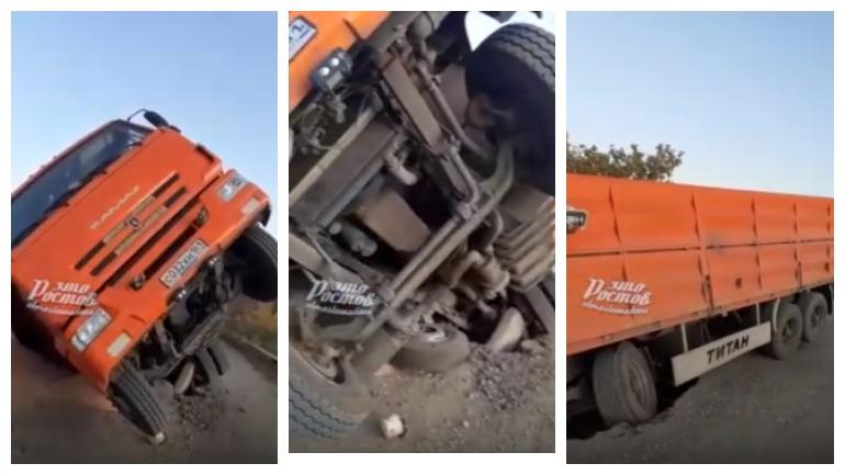 Перегруженный грузовик проломил мост в Ростовской области