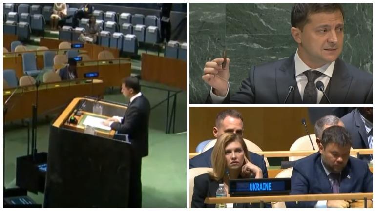 Зеленский продемонстрировал в ООН пулю и рассказал о российской агрессии