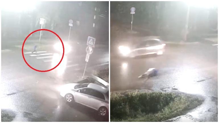 В Удмуртии камера видеонаблюдения засняла жуткое ДТП с пешеходом