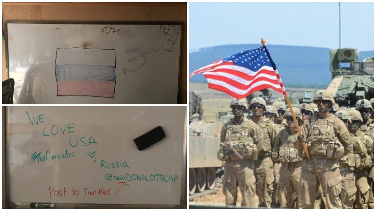 Американские солдаты расписали свою базу оскорблениями в адрес России