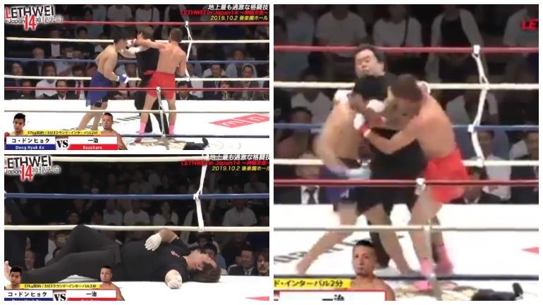 В Японии на турнире по бирманскому боксу боец случайно нокаутировал судью