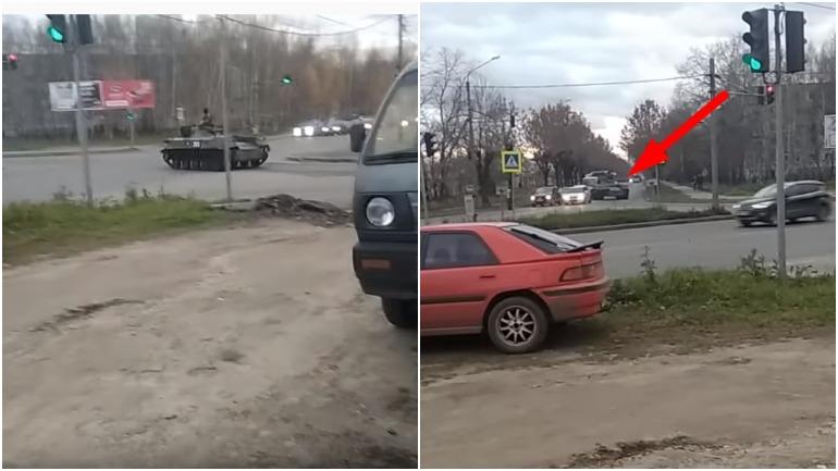В Костроме танк протаранил легковой автомобиль