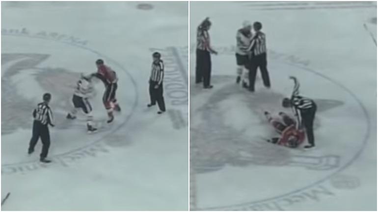 Во время хоккейного матча произошла драка между спортсменами