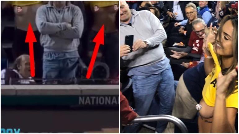 Две модели во время матча по бейсболу обнажили грудь