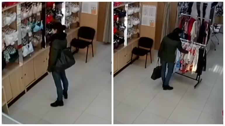 На камеры магазина попала любительница нижнего белья в Липецке