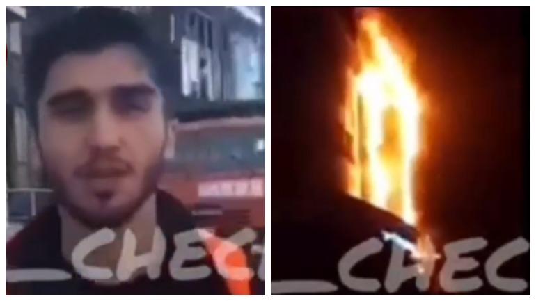 Чеченец, певший во время пожара в ТЦ, публично извинился