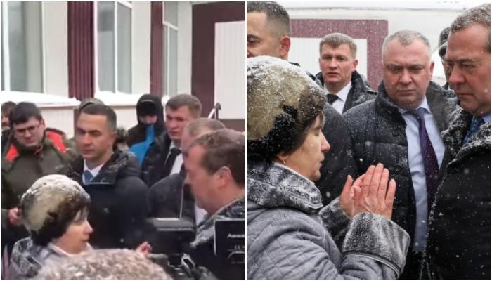 Пенсионерку на колени перед Медведевым поставили его охранники