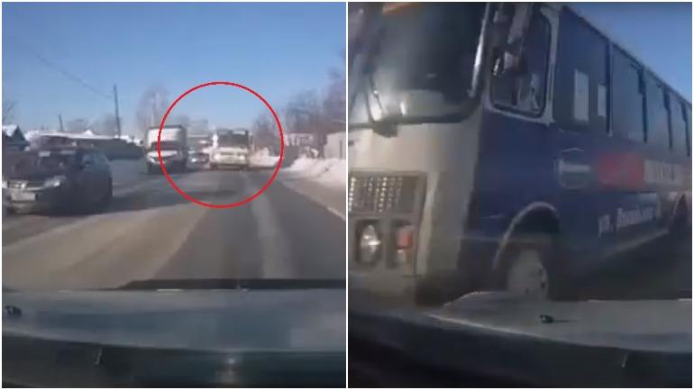 Опасный обгон пассажирского автобуса в Бийске всколыхнул Сеть