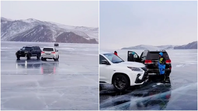 Дрифт по льду Байкала в ноябре закончился аварией