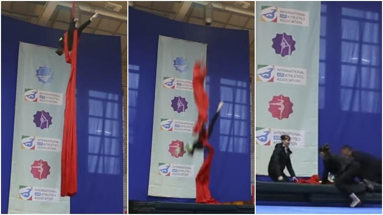 Видео: российская гимнастка упала с 8 метрового спортивного снаряда