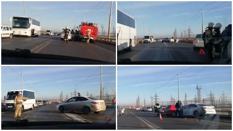 На мосте в Астрахани столкнулись девять автомобилей