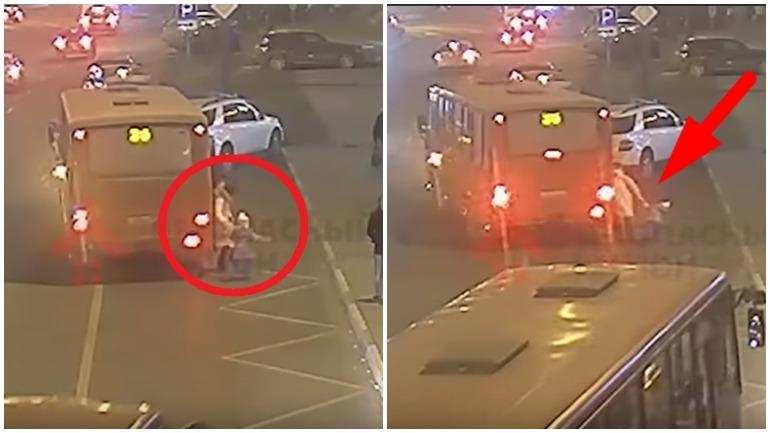 В Ярославле маршрутка несколько метров тащила женщину с ребёнком