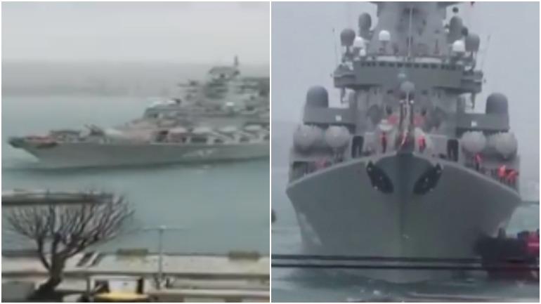 Российский ракетный крейсер не вписался в пирс в Турции