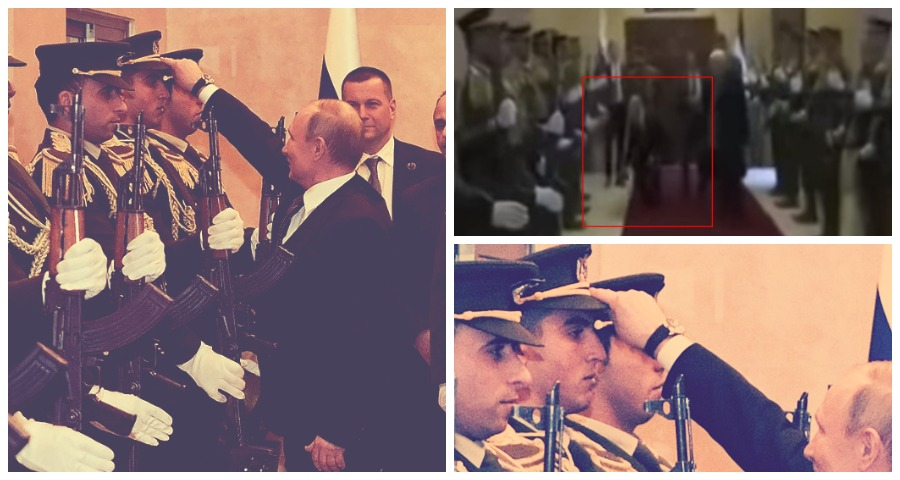 Владимир Путин поднял упавшую фуражку палестинского гвардейца
