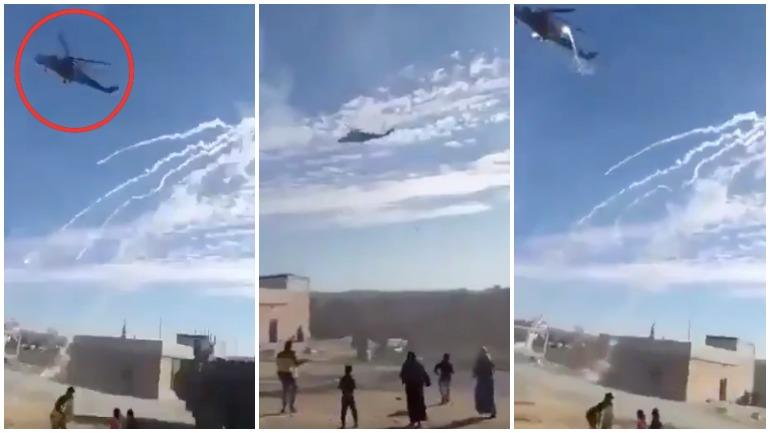 На видео попал полет российских вертолетов над американским блок-постом в Сирии
