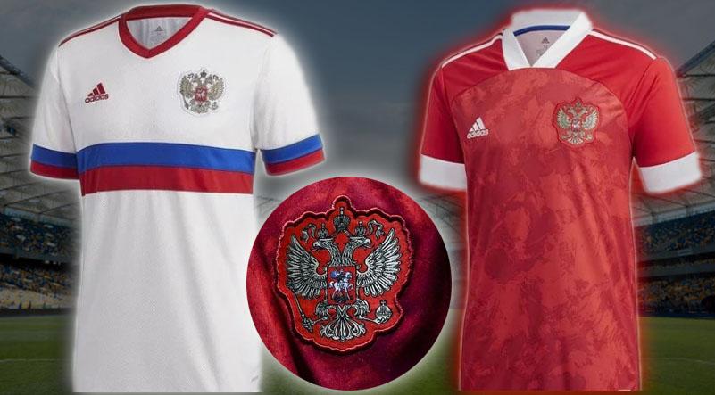 На фотографии футболки новой формы российских футболистов (31 марта 2020)