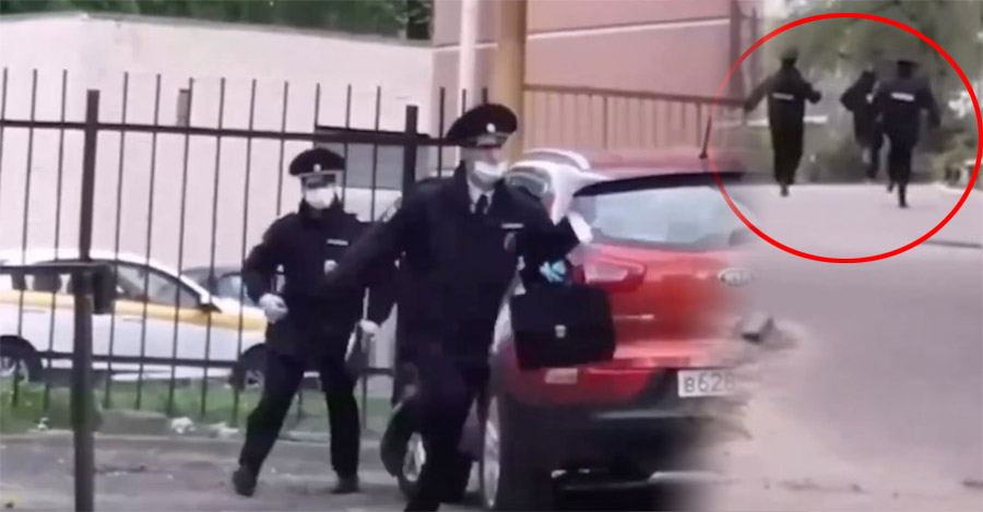 В Дятькове сняли видео погони полицейских за мужчиной без маски