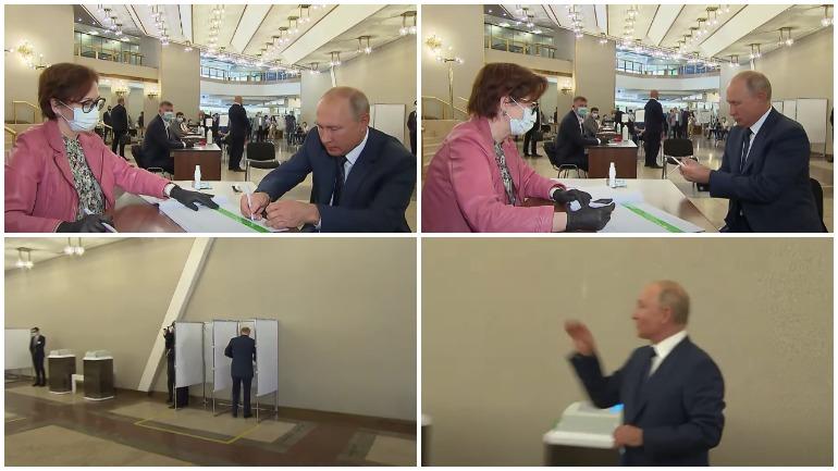 Путин отдал свой голос на голосовании по поправкам в Конституцию